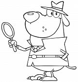 Outlined Smiling Detective Dog Holding A Magnifying Glass poster