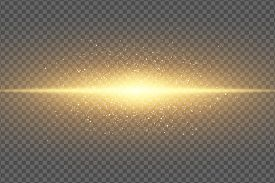 Magic Stylish Light Effect On A Transparent Background. Abstract Golden Flash. Glowing Flying Dust.