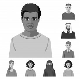 Vector Illustration Of Face And Person Sign. Set Of Face And Portrait Stock Vector Illustration.