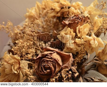 Bouquet Di Fiori Secchi Dai Colori Caldi Con Rosa