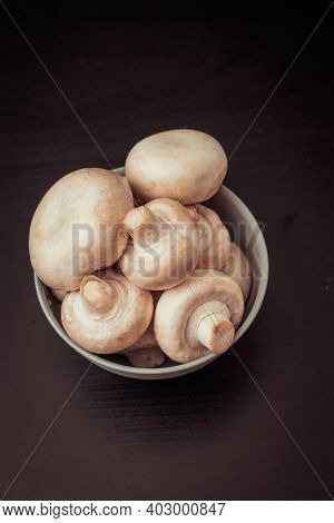 Champignons On A Black Background, Food Diet
