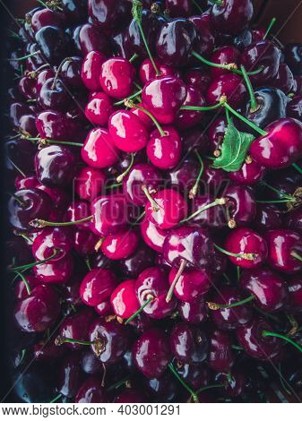 Sweet Cherries At The Counter. Bright Vibrant Vivid Colors. Vitamins Superfoods Healthy Diet. Harves