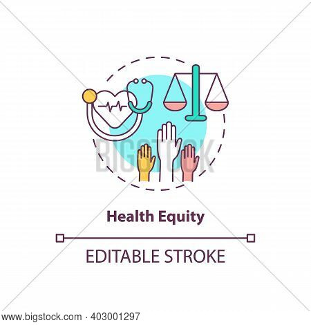 Health Equity Concept Icon. Health Programs Principles. Getting Proper Medical Help From Proffesiona