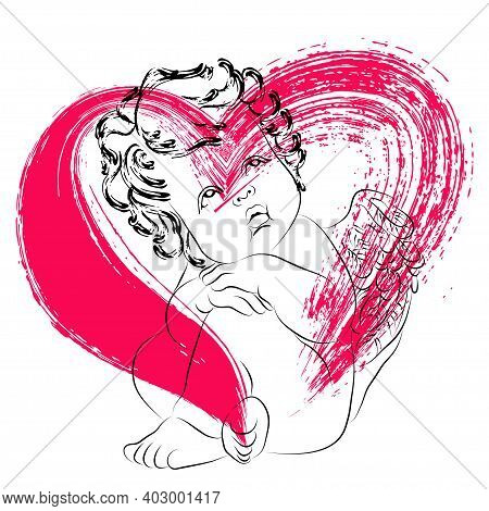 Vector Linear Illustration Of A Sitting Little Cupid And A Red Heart. Isolated Image Of An Angel. Dr