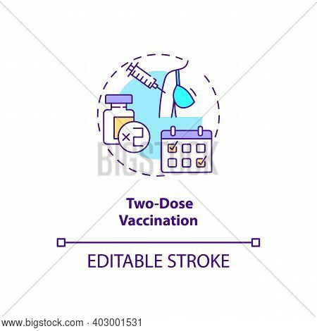 Two Dose Vaccination Concept Icon. Covid Vaccination. Better Result From Treating Patients. Medical