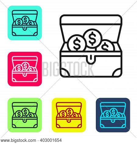 Black Line Treasure Chest Icon Isolated On White Background. Set Icons In Color Square Buttons. Vect