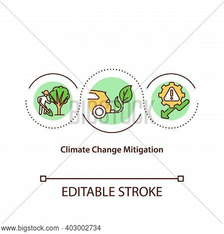 Climate Change Mitigation Concept Icon. Battle With Global Warming Idea Thin Line Illustration. Glob