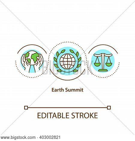 Earth Summit Concept Icon. Building International Consensus For The Sake Of Environment Idea Thin Li