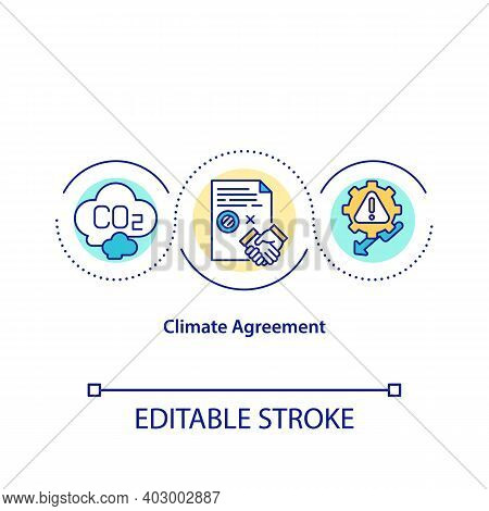 Climate Agreement Concept Icon. Global Warming Impact Idea Thin Line Illustration. Climate Justice P