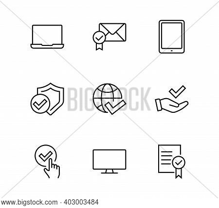 Approval Icon Set Thin Vector Icons Contains Check, Approved, Best Quality, Approval, Check Mark, Ed