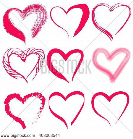 Vector Drawing Of Trendy Red Hearts. Image For Greeting Card, Valentine's Day And Website - Vector.