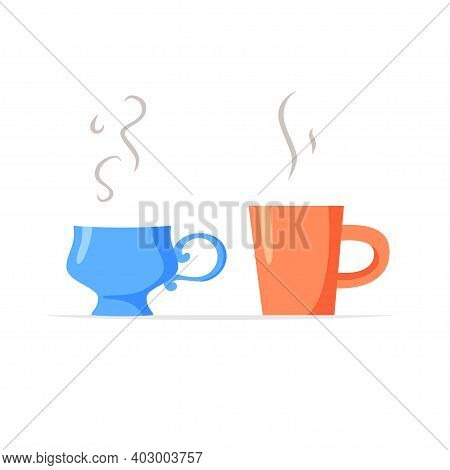 Simple Mug And Fancy Cup With Hot Drinks, Two Different Cups With Coffee Or Tea, Couple Concept, Vec