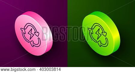 Isometric Line Battery With Recycle Symbol Line Icon Isolated On Purple And Green Background. Batter