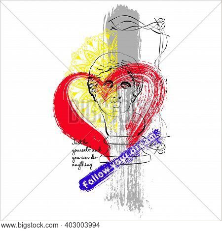 Vector Art Illustration Of Venus De Milo With Red Heart And Texts. Creative Depiction Of Venus.
