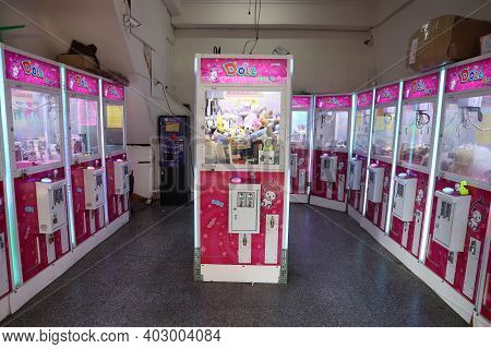 Lukang, Taiwan - December 2, 2018: Claw Machine Gaming Parlor In Lukang, Taiwan. Claw Machine Arcade