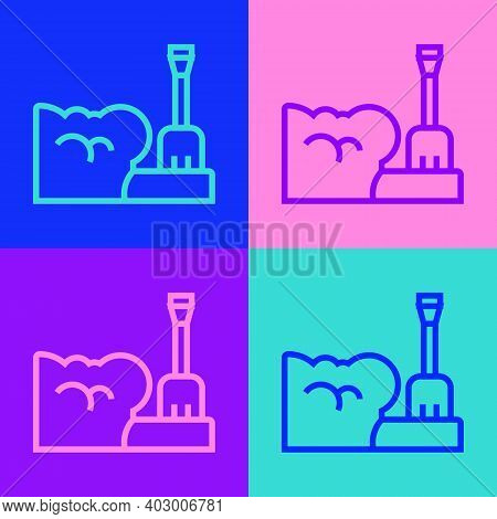 Pop Art Line Shovel In Snowdrift Icon Isolated On Color Background. Vector