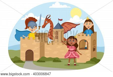 Imaginative Children Play Medieval Knights And Princesses In A Cardboard Castle They Have Made. Flat