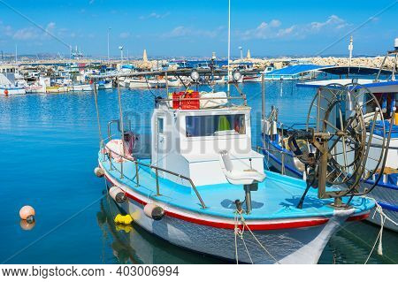 Motorboats Moored At Marina Of Larnaca In Bright Sunny Day, Cyprus