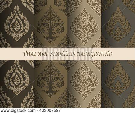 Thai Pattern Seamless Wallpaper Vector Illustration Set.
