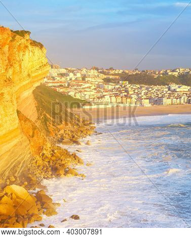 Sunset View Of Nazare Town - Famous Tourist Destinaton. Portugal