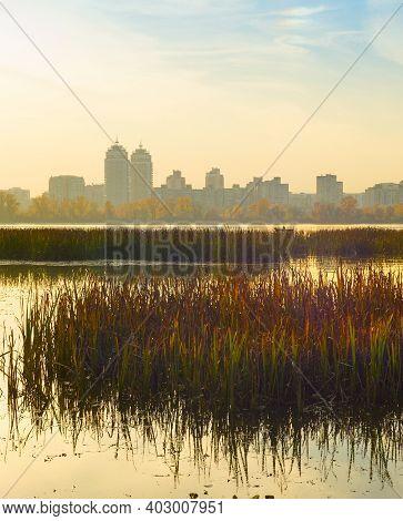 River Dnipro And Obolon District In The Background. Kiev, Ukraine