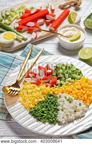 Crab Salad Of Surimi Sticks With Canned Corn, Cucumbers, Spring Onion Hard-boiled Eggs, Jasmine Rice