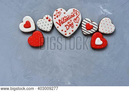 Valentine's Day Homemade Cookies On Ultimate Gray Background, Top View. Space For Text. Delicious An