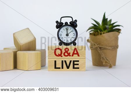 Q And A, Questions And Answers Live Symbol. Concept Words 'q And A Live' On Wooden Blocks On A Beaut