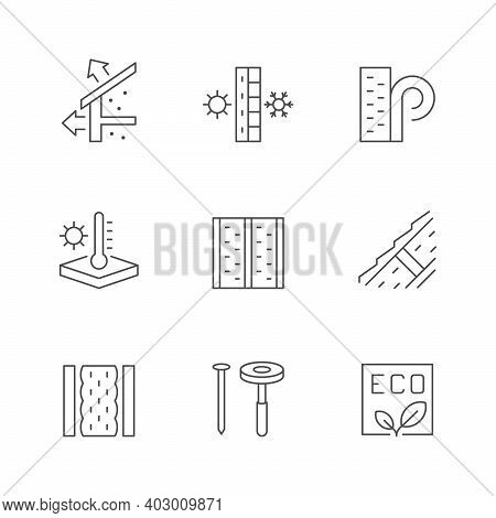 Set Line Icons Of Insulation Isolated On White. Eco Material, Home Construction, House Renovation, R