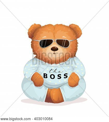 Cool Teddy Bear Wearing Sunglasses With The Boss Sign On His Shirt. Soft Toy For Kids And Adults App
