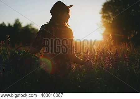Silhouette Of  Woman Gathering Lupine In Sunset Light In Countryside Field. Atmospheric Moment