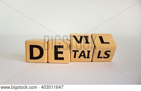 Devil In The Details Symbol. Turned Cubes And Changed The Word 'details' To 'devil'. Beautiful White