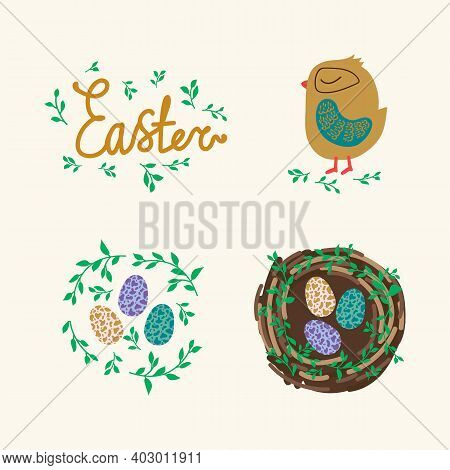 Set Of Easter Items. Nest With Colored Eggs. Cute Golden-colored Bird. Chicken, Egg, Bird House. Chi