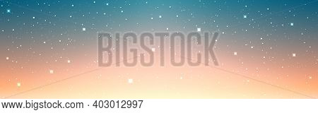Space Background Wide Banner. Magic Orange Nebula. Colorful Universe With Shining Stars. Bright Cosm