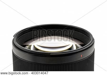 Close up to Lens Glass for camera lens in studio light on isolated white background. Clipping Paths.