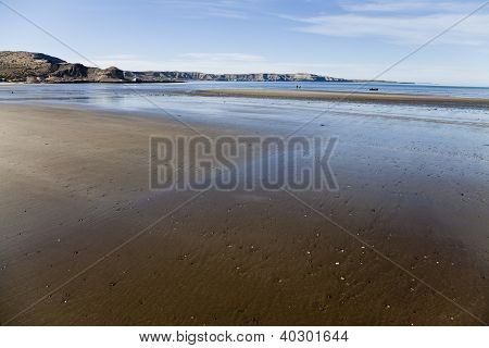 Low Tide At A Beach In Peninsula Valdes