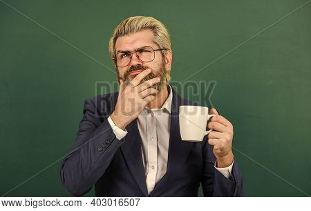 Coffee For Thought. Bearded Man Lost In Thought Green Chalkboard. Senior Teacher Think Over Cup Of T