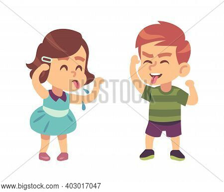Boy And Girl Teasing Each Other. Naughty Preschooler Show Tongue, Happy Children Funny Games, Bad Ma