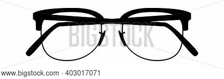 Modern Glasses. Retro Eyeglasses Front View Shape, Black Vintage Hipster Modern Eyewear Silhouettes,