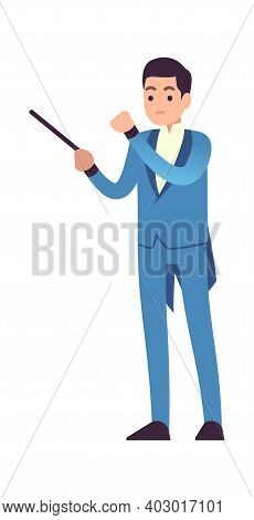 Conductor Of Symphony Orchestra. Classic Male Musician Character In Blue Dress With Conductor Stick,