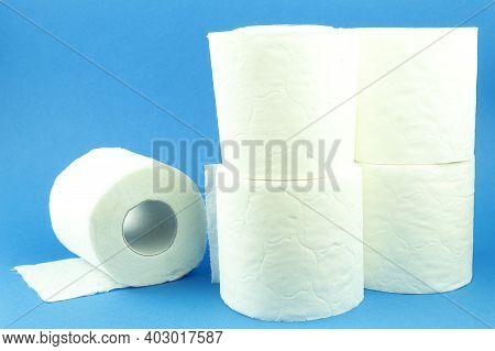 Rolls Of Toilet Paper On A Blue Background. Toilet Paper Roll