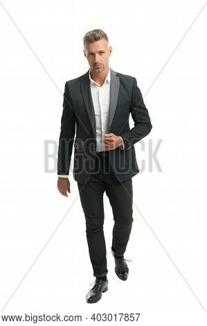 Putting On His Business Face. Businessman Wear Suit Isolated On White. Business Professional Capsule