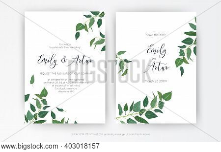 Wedding Modern, Minimalist Style Invitation, Floral Invite Card Design: Natural Greenery Eucalyptus
