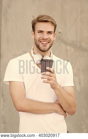 He Loves Coffee. Modern Man Drink Coffee In Morning. Handsome Man Hold Takeaway Cup. Happy Man In Ca