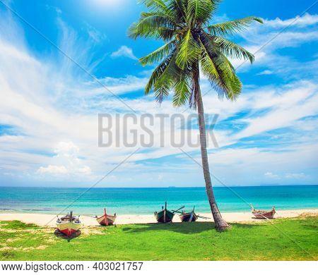 beach and fishing boats, koh Lanta, Thailand