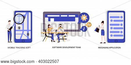 Smartphone Application Abstract Concept Vector Illustration Set. Messaging Application, Mobile Track