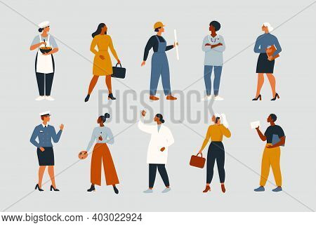Collection Of Women People Workers Of Various Different Occupations Or Profession Wearing Profession