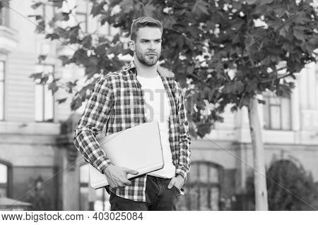 Freelance Now. Freelancer Urban Outdoors. Young Guy Work Freelance. Freelance Worker Carry Laptop. F