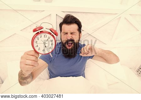 Health Benefits Of Rising Early. Waking Up Early Gives More Time. Hipster Bearded Man In Bed With Al