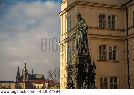 Prague, Czech Republic. 01-11-2021. Statue Of King Charles Iv On Cross Square, Near Charles Bridge I
